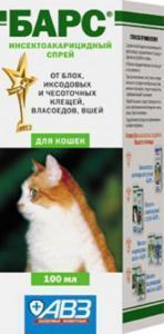 Барс cпрей инсектоакарицидный для кошек 100 мл.