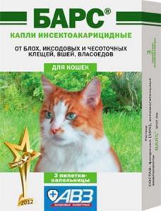 Барс капли инсектоакарицидные для кошек