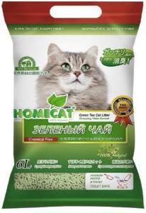 Homecat Эколайн зеленый чай комкующийся наполнитель