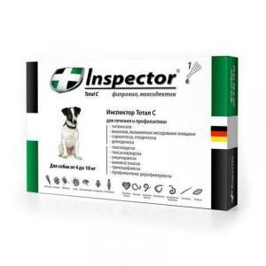 Inspector Total C Капли от блох, клещей и гельминтов для собак