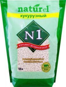 """Naturel Наполнитель древесный комкующийся N1 """"Кукурузный"""""""