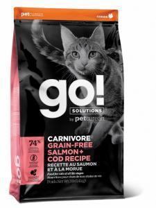 Сухой корм для кошек GO! Carnivore , беззерновой, с лососем, с треской