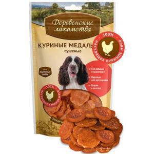 Сушеные куриные медальоны лакомство для собак