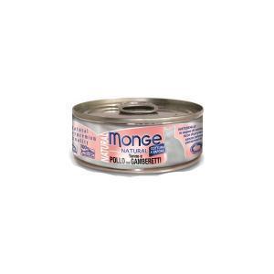 Влажный корм для кошек Monge Natural тунец с курицей и креветками