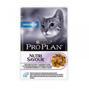 Влажный Корм для кошек Purina Pro Plan Nutrisavour Housecat беззерновой, с индейкой (кусочки в желе)
